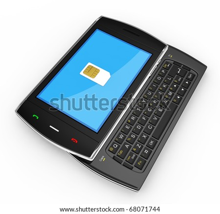 Black mobile smartphone with sim-card. This is a detailed 3D render. - stock photo