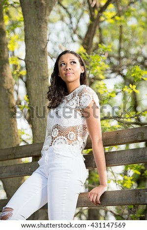 Black model enjoying the outdoors