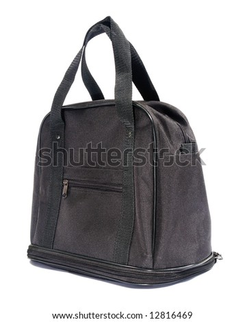 Black modern bag. Isolated on white.