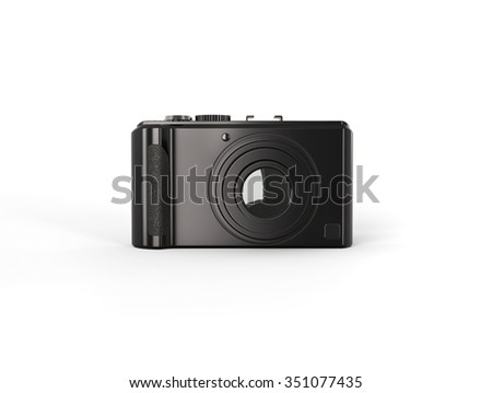 Black modern compact digital photo camera - front view - stock photo