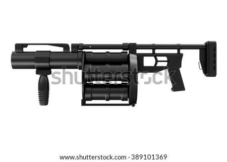 Black Modern Grenade launcher isolated on white background. Military Tactical Weapons Concept. - stock photo