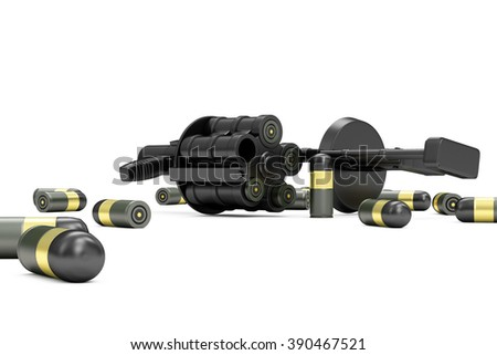 Black Modern Grenade Launcher with 40 mm Grenades isolated on white background. Military Tactical Weapons Concept - stock photo