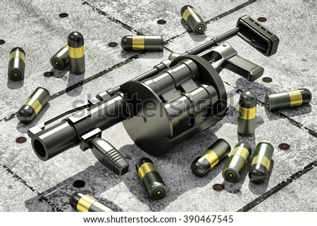 Black Modern Grenade Launcher with 40 mm Grenades on Grunge Concrete Floor. Military Tactical Weapons Concept