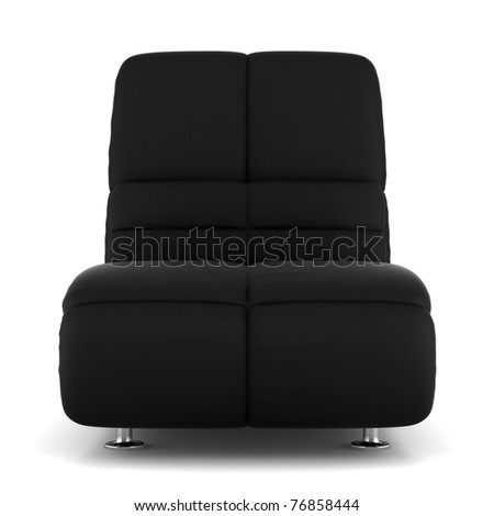 black modern leather armchair isolated on white background