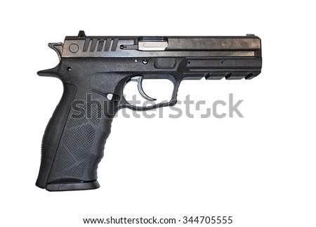 Black modern pistol close up. Isolated on white background - stock photo