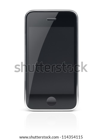 Black modern smartphone, cell phone with clear screen isolated with clipping path on white background - stock photo