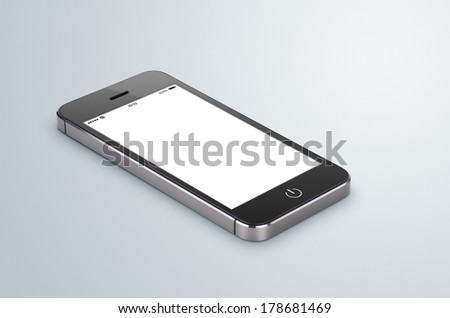 Black modern smartphone with blank screen lies on the gray surface. Whole image in focus, high quality. - stock photo