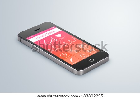 Black modern smartphone with health book app on the screen lies on the gray surface. - stock photo
