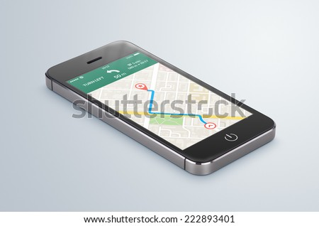 Black modern smartphone with map gps navigation application with planned route on the screen lies on the gray surface. High quality.