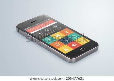 Black modern smartphone with smart home application on the screen lies on the gray surface. For access to all of the controls of your house, door locks, lights, thermostats and caring of home security - stock photo