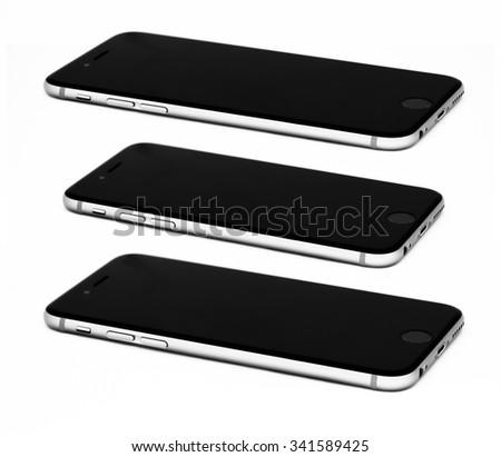 Black modern smartphones. - stock photo