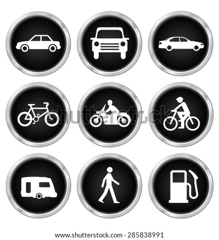 Black modes of transport related icon set isolated on white background - stock photo