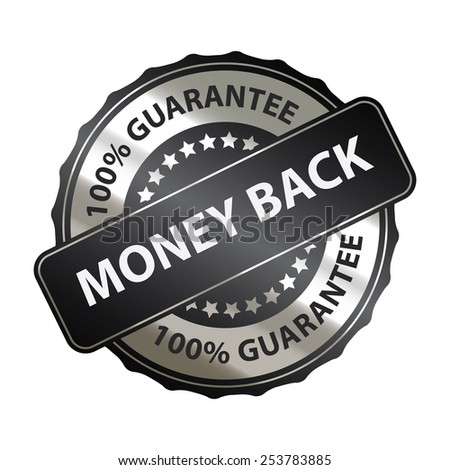 black money back 100% guarantee sticker, banner, sign, icon, label isolated on white - stock photo