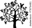 black money growing on trees, dollars isolated on White background. illustration - stock vector
