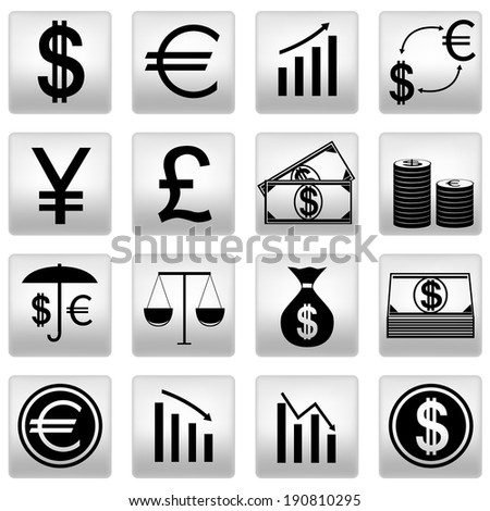 black money icons set on gray. Raster illustration. - stock photo