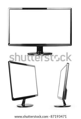 black monitor collection on white and blank screen - stock photo