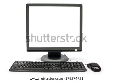 black monitor, keyboard and mouse on a white backround isolated  - stock photo