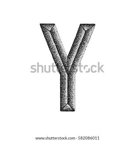 black monochrome vintage ink hand drawn dot work retro tattoo style engraving volumetric letter Y isolated white background