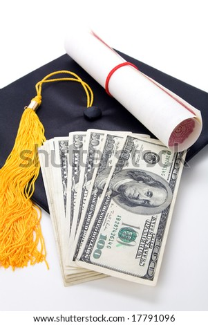 Black Mortarboard and dollar, concept of education finance - stock photo
