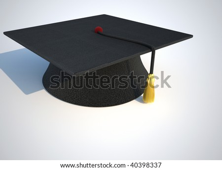 Black mortarboard ( graduation cap ) on simple background - 3d render