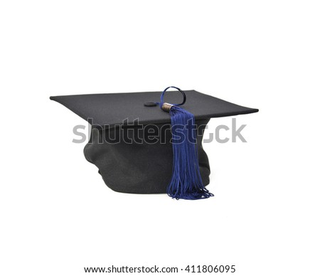 Black mortarboard with blue tassel on white