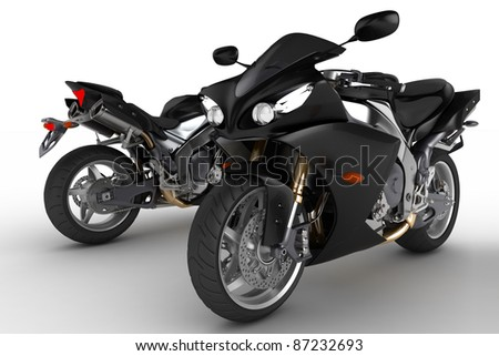 Black motorbike on white background