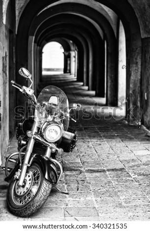 black motorcycle - stock photo