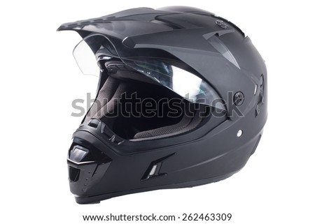 black motorcycle helmet isolated on white