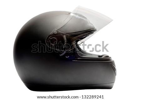 black motorcycle helmet isolated white background - stock photo