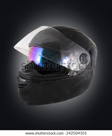 Black motorcycle helmet over white background - stock photo
