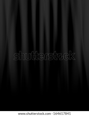 black movie or theatre curtain with some soft folds in it - stock photo