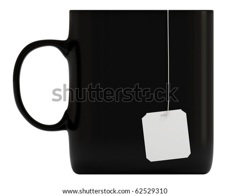 Black mug, cup, blank label, isolated on white, 3d illustration - stock photo