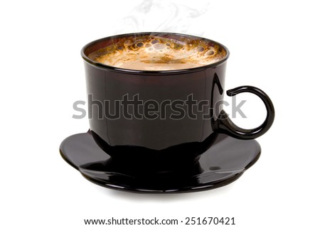 black mug with fragrant coffee on a white background - stock photo