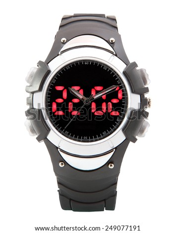 Black multifunctional clock with dual LED time display, rubber strap. - stock photo