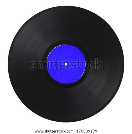Black Music Record With Blue Label Isolated on White Background.