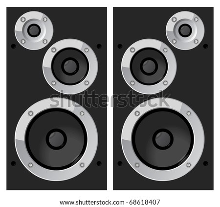 Black music speakers. Raster version. Vector version is also available.