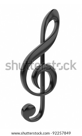 Black musical note 3D. Icon isolated on white background - stock photo