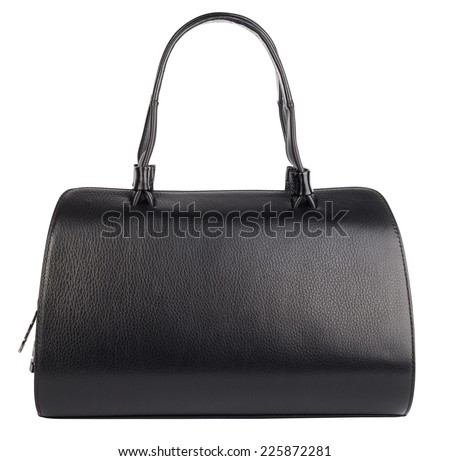 Black natural leather female purse isolated on white - stock photo