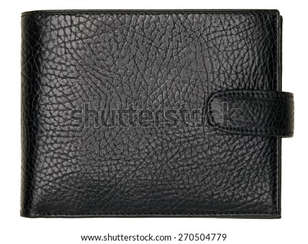 Black natural leather wallet isolated on white background. Expensive man's purse closeup - stock photo