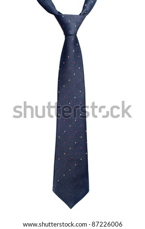 Black necktie with red and yellow spots isolated on white - stock photo