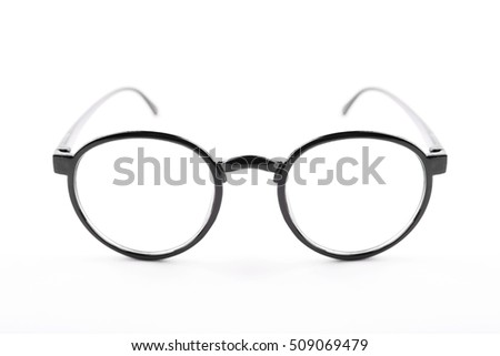 Black nerd glasses on isolated white background, perfect reflection