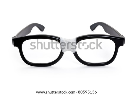 Black nerd Glasses with white background - stock photo