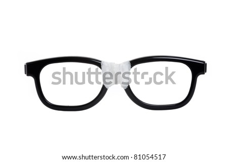 Black nerd Glasses with white background