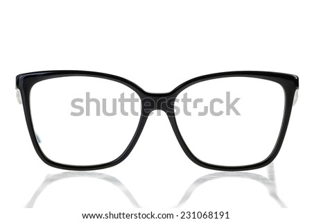 black nerd or geek eye glasses isolated over a white background - stock photo