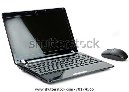 Black netbook isolated on white - stock photo