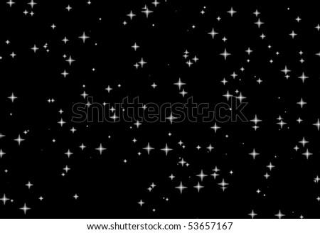 Black night sky with white stars - stock photo