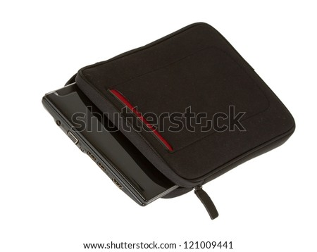 Black notebook bag close-up isolated on white background - stock photo