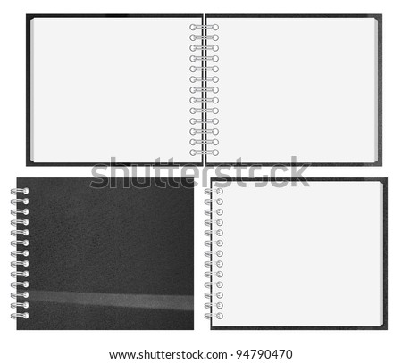 black notebook with blank cover isolated on white.