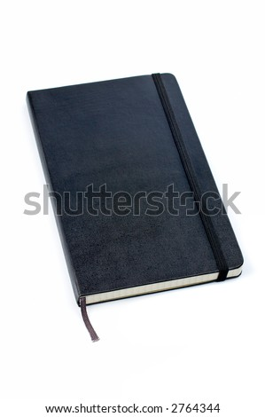Black notebook with soft shadow on white background - stock photo