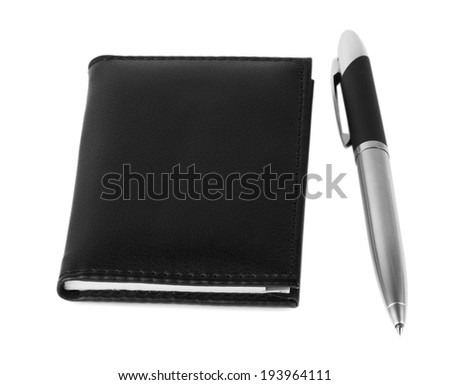 black notepad and pen isolated on white backgound